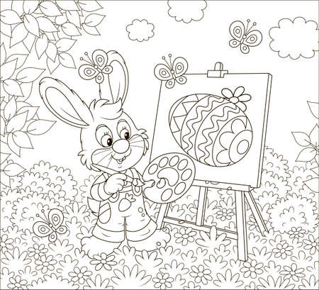 Little Bunny drawing a decorated Easter egg on its canvas among flowers on a sunny spring day, black and white vector illustration in a cartoon style for a coloring book