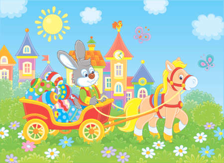 Little grey rabbit carrying colorfully decorated Easter eggs in a cart with a small pony against the background of small town houses, vector illustration in cartoon style