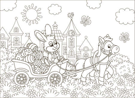 Little rabbit carrying decorated Easter eggs in a cart with a small pony against the background of small town houses, black and white vector illustration in a cartoon style for a coloring book