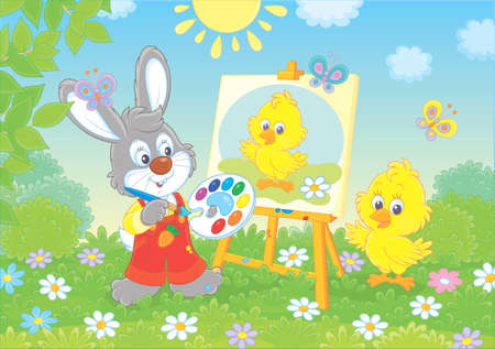 Little bunny drawing a small yellow chick on a green lawn among flowers on a sunny spring day, vector illustration in a cartoon style