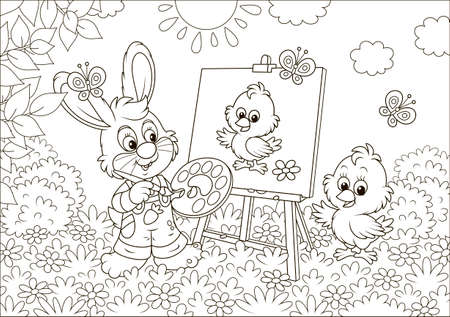 Little bunny drawing a small chick on a lawn among flowers on a sunny spring day, black and white vector illustration in a cartoon style for a coloring book