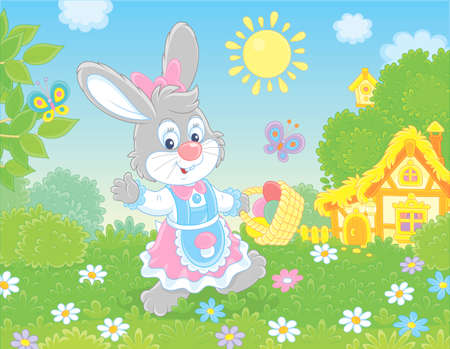 Friendly smiling Easter Bunny with a basket of colored eggs walking in front of a small hut among flowers on green grass on sunny spring day, vector illustration in a cartoon style