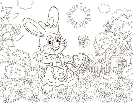 Friendly smiling Easter Bunny with a basket of colored eggs walking in front of a small hut among flowers on sunny spring day, black and white vector illustration in a cartoon style for a coloring book