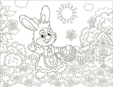 Lapin de Pâques souriant sympathique avec un panier d'oeufs colorés marchant devant une petite hutte parmi les fleurs le jour de printemps ensoleillé, illustration vectorielle en noir et blanc dans un style dessin animé pour un livre de coloriage