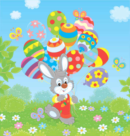 Easter Bunny with colorful balloons on a green lawn among flowers on a sunny spring day, vector illustration in a cartoon style