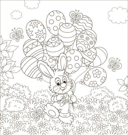 Easter Bunny with decorated balloons on a lawn among flowers on a sunny spring day, black and white vector illustration in a cartoon style for a coloring book
