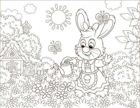 Little cute Bunny watering beautiful flowers on its lawn in front of a small thatched house on a sunny Easter day, black and white vector illustration in a cartoon style for a coloring book