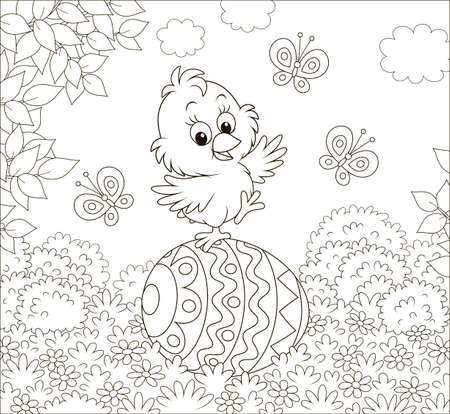 Little Easter Chick dancing on a big decorated egg on a lawn on a sunny spring day, black and white vector illustration in a cartoon style for a coloring book Vector Illustration