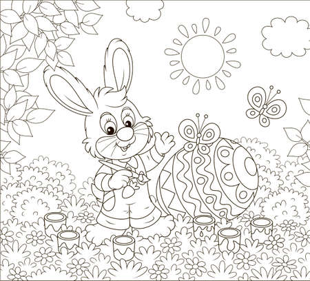 Little bunny coloring a big Easter egg on grass among flowers on a sunny spring day, black and white vector illustration in a cartoon style