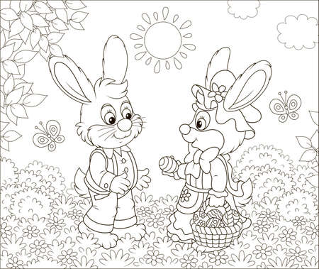 Little Easter Bunnies exchanging colored eggs on a lawn among flowers and flittering butterflies on a sunny spring day, black and white vector illustration in a cartoon style for a coloring book