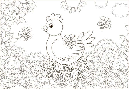 Cute hen sitting on colored Easter eggs on grass among flowers and flittering butterflies on a sunny spring day, black and white vector illustration in a cartoon style for a coloring book