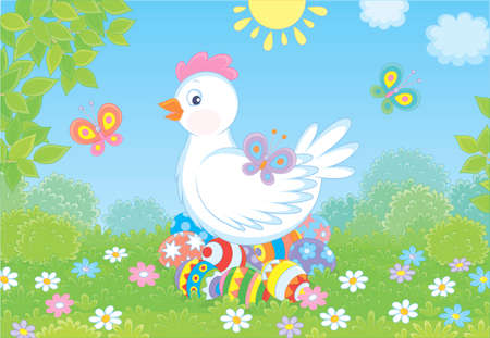 Cute white hen sitting on colored Easter eggs on green grass among flowers and flittering butterflies on a sunny spring day, vector illustration in a cartoon style