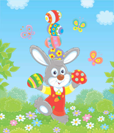 Little Easter bunny juggling with colored eggs among flowers on green grass of a lawn on a sunny spring day, vector illustration in a cartoon style