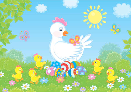 White hen sitting on colored Easter eggs and surrounded by small chicks walking on green grass among flowers and flittering butterflies on a sunny spring day,  illustration in a cartoon style