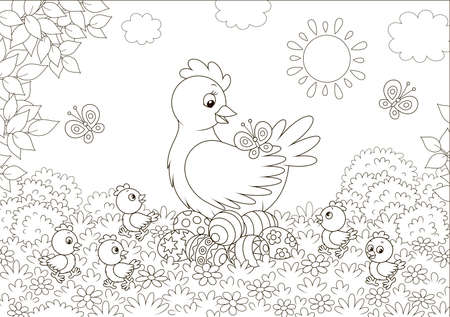 Hen sitting on colored Easter eggs and surrounded by small chicks walking on grass among flowers and flittering butterflies on a sunny spring day,  illustration in a cartoon style