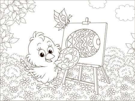 Little chick drawing a decorated Easter egg among flowers on grass of a lawn on a sunny spring day, black and white illustration in a cartoon style for a coloring book