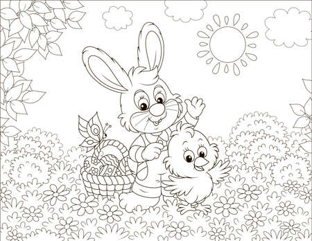 Little bunny and a small chick with an Easter basket of decorated eggs waving in greeting among flowers on a sunny spring day, black and white illustration in a cartoon style Vector Illustration