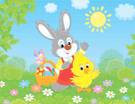 Little grey bunny and a small yellow chick with an Easter basket of colorfully decorated eggs waving in greeting among flowers on a sunny spring day, illustration in a cartoon style