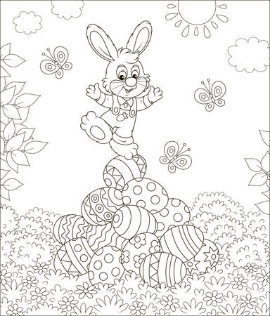 Little Easter Bunny on a pile of colorfully decorated eggs on grass on a sunny spring day, black and white  illustration in a cartoon style for a coloring book Illustration