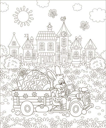 Rabbit driving a small toy truck with a big decorated Easter egg, black and white  illustration in a cartoon style for a coloring book