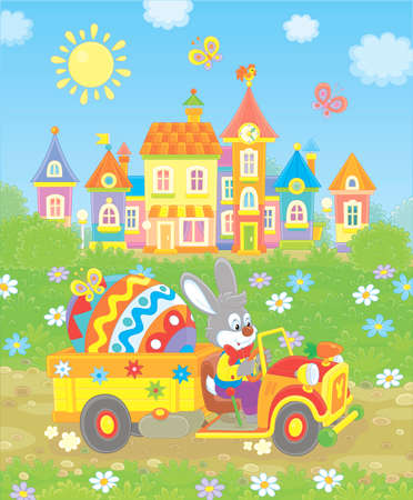Grey rabbit driving a small toy truck with a big colored Easter egg,  illustration in a cartoon style