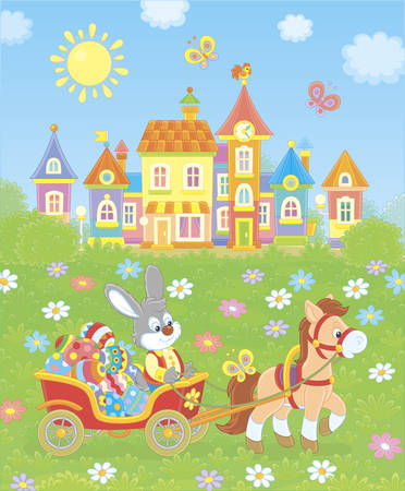 Grey rabbit carrying colored Easter eggs in its cart pulling by a small pony in front of a colorful toy town among green trees and flowers on a sunny spring day,  illustration