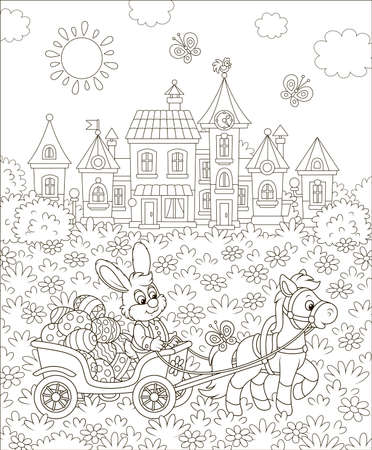 Rabbit carrying decorated Easter eggs in its cart pulling by a small pony in front of a toy town among flowers on a sunny day, black and white  illustration in a cartoon style Illustration