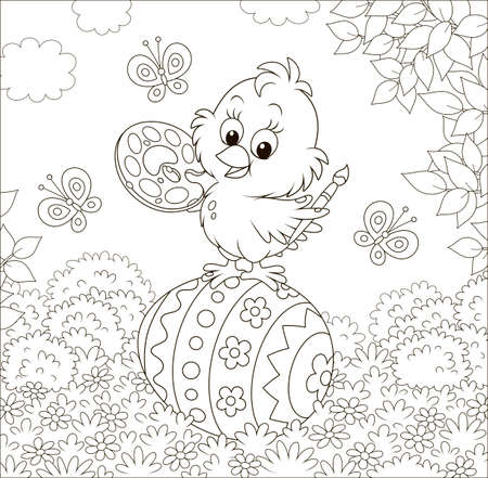 Little chick coloring an Easter egg among flowers on grass of a lawn on a sunny spring day, black and white illustration in a cartoon style for a coloring book