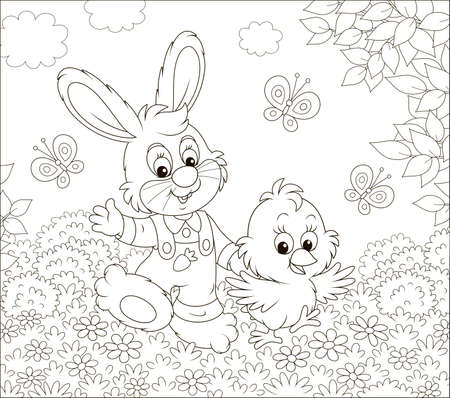 Little bunny and his friend a small chick walking and waving in greeting among butterflies and flowers on a sunny spring day, black and white illustration in a cartoon style