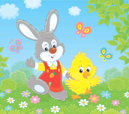 Little grey bunny and his friend a small yellow chick walking and waving in greeting among colorful butterflies and flowers on a sunny spring day, illustration in a cartoon style