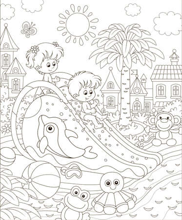 Small children sliding down from a waterslide in a summer aquapark, black and white illustration in a cartoon style for a coloring book