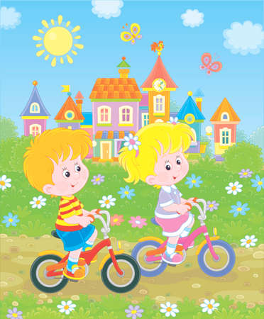 Little children riding bicycles near a cute small town with colorful houses among green trees on a sunny summer day, illustration in a cartoon style