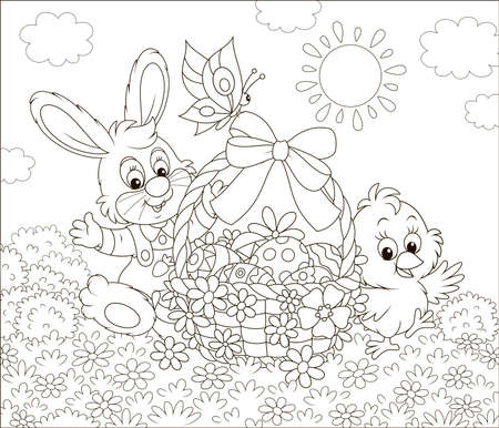 Little bunny and a small chick with an Easter basket of decorated eggs waving in greeting among flowers on a sunny spring day, black and white illustration in a cartoon style