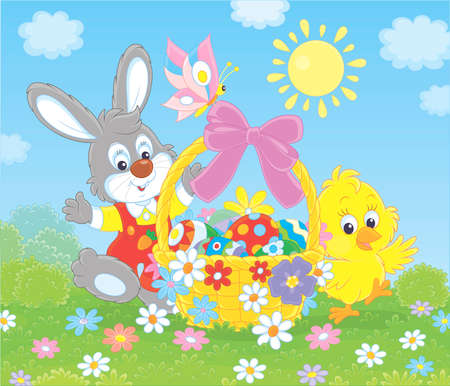 Little grey bunny and a small yellow chick with an Easter basket of colorfully decorated eggs waving in greeting among flowers on a sunny spring day, illustration in a cartoon style Vektorové ilustrace