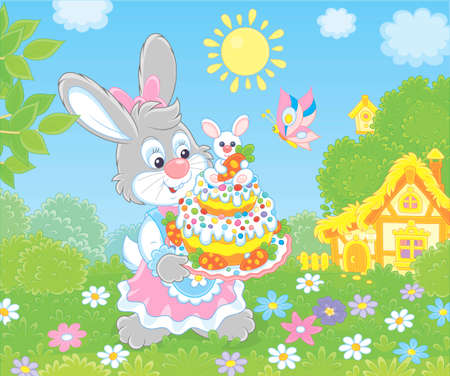 Cute Bunny in a festive dress with a fancy Easter cake among flowers on a sunny spring day, illustration in a cartoon style