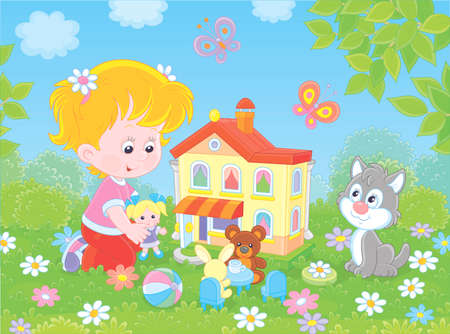 Cute little girl playing with a small doll, a bear, a rabbit and a toy house among flowers on a sunny summer day, illustration in a cartoon style