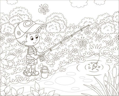 Little boy fisherman with a fishing-rod catching fish in a small pond on a sunny summer day, black and white vector illustration in a cartoon style
