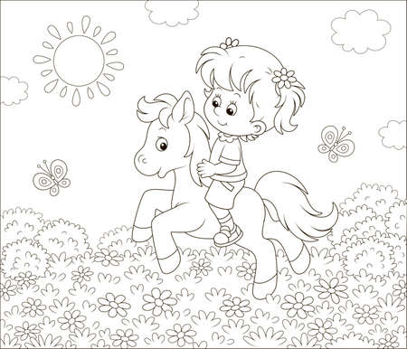 Little cute girl riding a pony among flowers and butterflies on a sunny summer day, black and white illustration in a cartoon style for a coloring book