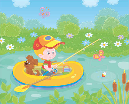 Little boy fisherman with a fishing-rod and a small pup in his inflatable boat catching fish in a pond on a sunny summer day, illustration in a cartoon style