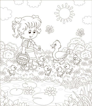 Niña alimentando a un pato y patitos pequeños entre flores junto a un estanque con nenúfares en un día soleado de verano, ilustración en blanco y negro en un estilo de dibujos animados