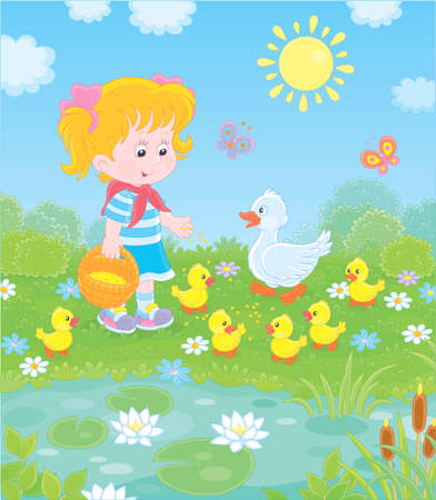 Little girl feeding a white duck and small yellow ducklings among flowers by a pond with water-lilies on a sunny summer day, illustration in a cartoon style