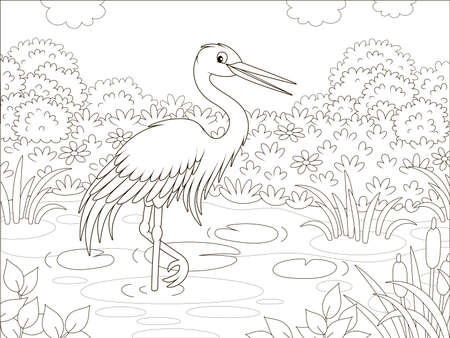 Heron in a small lake among cane, grass and flowers of a meadow on a summer day, black and white illustration in a cartoon style for a coloring book