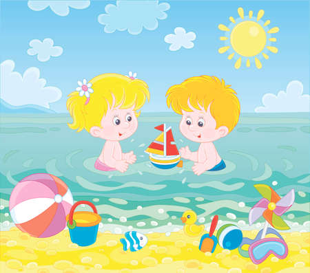 Happy little kids playing with toys in blue water on a sea beach on a sunny summer day, illustration in a cartoon style