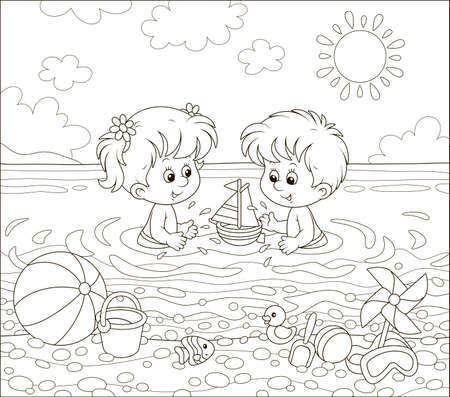 Happy little kids playing with toys in water on a sea beach on a sunny summer day, black and white  illustration in a cartoon style for a coloring book 向量圖像