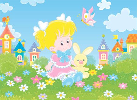Cute little girl in a beautiful pink dress sitting with a small toy rabbit among flowers on a green lawn against a background of colorful houses of a small town,  illustration in a cartoon style