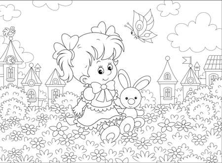 Cute little girl in a beautiful dress sitting with a small toy rabbit among flowers on a lawn against a background of a small town, black and white  illustration in a cartoon style Illustration