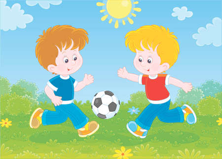 Little smiling boys playing football on green grass on a sunny summer day,  illustration in a cartoon style