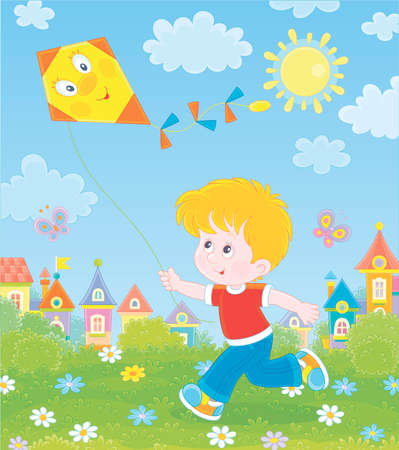 Smiling little boy running and playing with a funny toy kite against a background of colorful houses of a small town on a sunny summer day,  illustration in a cartoon style Illustration