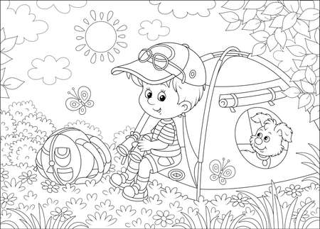 Smiling little boy scout and his funny small pup resting in a color camping tent on a glade of a forest on a sunny summer day, black and white vector illustration in a cartoon style Illustration