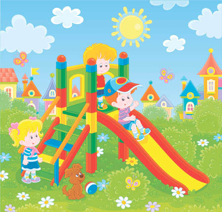 Little children playing on a slide on a playground in a green park of a small town on a sunny summer day, illustration in a cartoon style